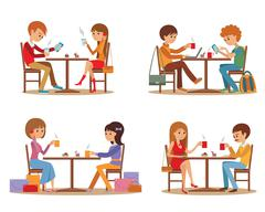 Group of friends In cafe. Young people talking friendly at coffee shop while Stock Illustration
