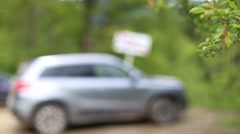 Blurred car in the background, moving leaves close-up Stock Footage