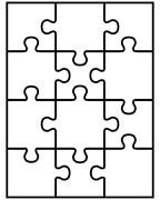 puzzle, separate parts - stock illustration