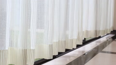 Curtain beside the window Stock Footage
