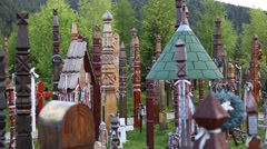 Traditional hungarian cemetery Stock Footage