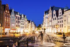 Fountain on University Square in Rostock Rostock, Mecklenburg-Vorpommern, - stock photo