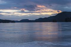 Brant Lake in Adirondack region at dusk Stock Photos