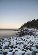 Otter Cliffs in Acadia National Park in winter Stock Photos