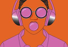 Hipster girl listening to music on headphones and chews cud. Vector - stock illustration