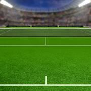 Tennis Grass Court Fulll of Spectators and Copy Space Stock Illustration