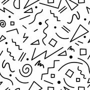 Retro 80s seamless pattern in black and white - stock illustration