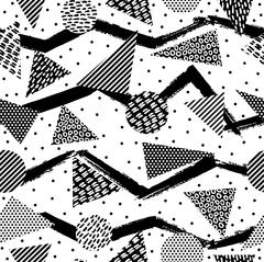 Retro geometry seamless pattern in black and white - stock illustration