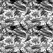 Black and white pattern in 80s style with doodles - stock illustration
