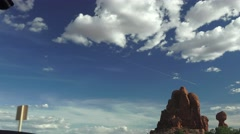 Window view of Balanced Rock, DRIVING, ARCHES NATIONAL PARK Stock Footage
