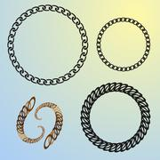 Round chains set frames Stock Illustration