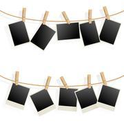Photo Frames on Rope. Illustration on white background - stock illustration