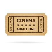 Retro cinema ticket. Illustration of designer on a white background. - stock illustration