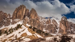 View from Gardena Pass to Dolomites in the clouds, 4k timelapse Stock Footage