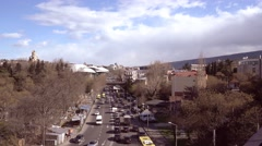 Top view of cars drive on highway in Tbilisi Stock Footage
