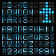 Set of blue letters on a mechanical timetable. Illustration of the designer Piirros