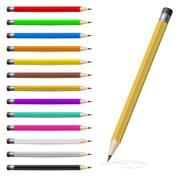 Set of Coloured pencils. Illustration on white background Stock Illustration
