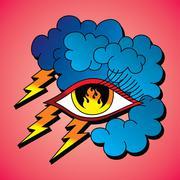 flame eye symbol theme - stock illustration