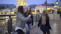 Funny Teen Girls Dance On Rooftop At Night (Pretty Lights In Background) Stock Footage