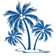 Silhouette Palm trees - stock illustration
