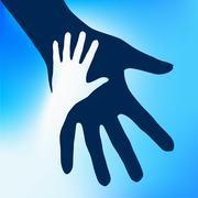 Helping Hands Child.  Illustration on blue background for design Stock Illustration