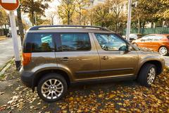 Maroon metallic Skoda Yeti 4*4 Stock Photos