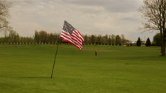 American flag on a meadow - stock footage