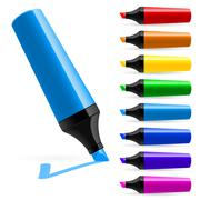 Realistic multi-colored markers. Illustration on white background - stock illustration