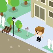 businessman residential home isometric cartoon - stock illustration