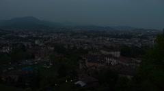 Bergamo, Italy - panorama video by night Stock Footage