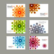 Six Vector pattern brochure with abstract figures - stock illustration