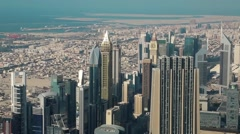View on financial centre in Dubai downtown, United Arab Emirates Stock Footage