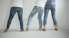 Friends makes repairs at home. Funny girls dance and paint the walls in the flat Stock Footage