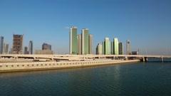 Buildings on Al reem island in Abu Dhabi, United Arab Emirates Stock Footage