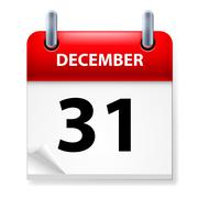 Thirty-first December in Calendar icon on white background Stock Illustration