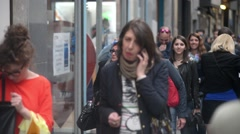 Croud of people in center of Milan hurry to work - spring day - stock footage