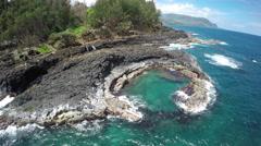 4K circling aerial shot of Hawaii coastline Arkistovideo