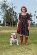 Eager dog and loving master. - stock photo