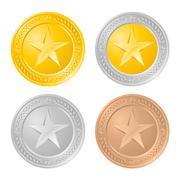 Four gold coins. Illustration of the designer on a white background - stock illustration