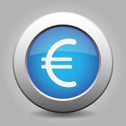 blue metal button with euro currency symbol - stock illustration