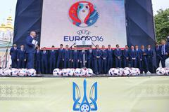 KYIV, UKRAINE - MAY 22, 2016: Players of the National Football team of Ukraine - stock photo