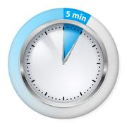 Blue Timer Icon. Five Minutes. Illustration on white. - stock illustration