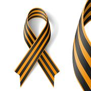 Black and gold Ribbon of St George on white background. - stock illustration
