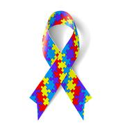 Colorful puzzle ribbon as symbol autism awareness Stock Illustration