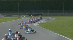 Kart racing or karting. Race karts on the track. Stock Footage