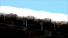 Snow and icicle dripping from roof Stock Footage