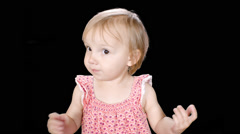 Keyed Little Little Girl Saying Eww Stock Footage