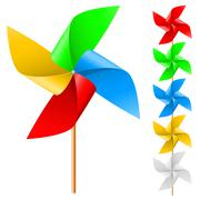 Toy windmill propeller set with multicolored blades on a white - stock illustration