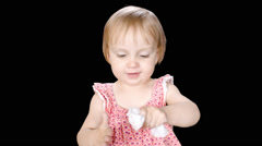 Keyed Little Cute Girl Saying Eww to Tissue Stock Footage