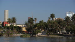 Los Angeles MacArthur Park Day 03 Palm Trees by Pond Stock Footage